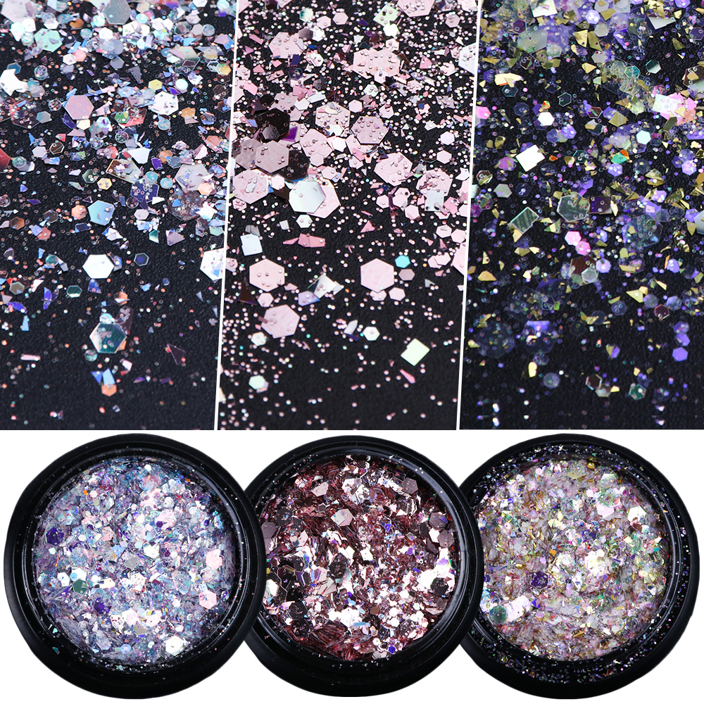 Flakes Sparkly 3D Hexagon Colorful Sequins