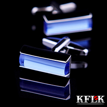 2016 KFLK Luxury HOT shirt cufflinks for mens gifts Brand cuff button Blue Crystal cuff links High Quality abotoaduras Jewelry