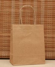 18x15x8cm Light Brown Color Kraft Paper Handle Bag 20pcs/lot Jewelry Gift Packaging Shopping Bags For Clothing Store Wholesale(China)