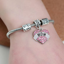 Family Gift For Mom Love Heart Crystal Rhinestone Bangle Bracelets Jewelry For Mother Women Birthday Party Mother's Day Gift