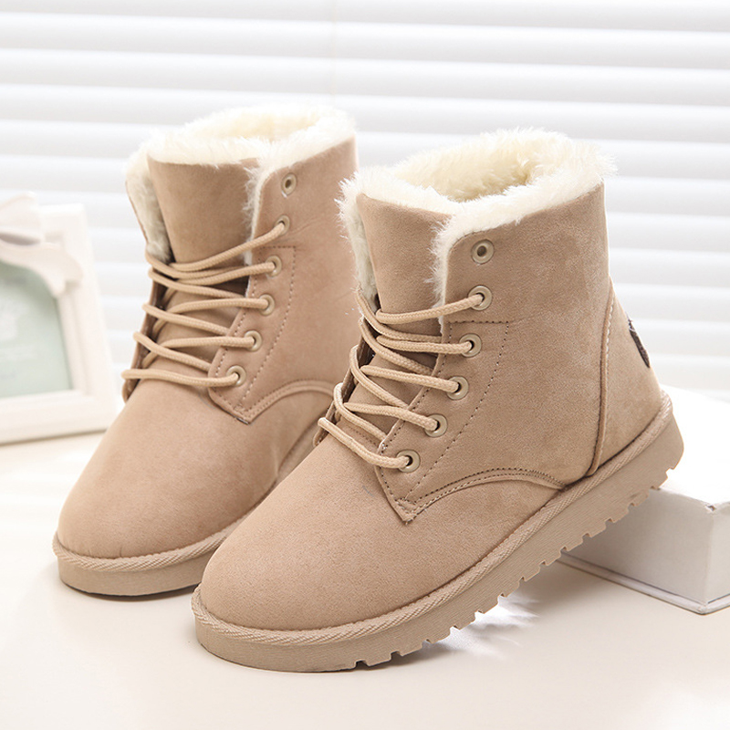 2017 Winter Woman Boots Lace-up Solid Flat Ankle Boot Casual Round Toe Women Snow Boots Fashion Warm Plus Cotton Shoes ST903<br><br>Aliexpress