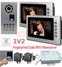 "1V2 Video intercom For Private House Ip65 Waterproof HD CCD Camera Home Video Phones 2 Monitor 7"" Color LCD Fingerprint Unlock(China)"