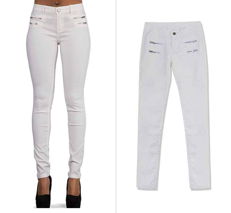 Europe and the United States women's low waist stretch pants feet double zipper PU white coating imitation leather pants large size (4)