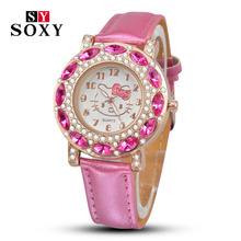 Cartoon Watch New Arrival Lovely Girls Hello Kitty Women Watch Children christmas Fashion Kids Crystal Wrist Watch For Gift.