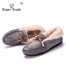Free Shipping Casual Women Flats Shoes Winter Plus Velvet Flats Female Moccasin Shoes Women's Loafers Ladies Doug Shoes STA662(China)