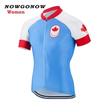 Women 2017 cycling jersey red blue Canada flag national team summer bike maillot ciclismo wear clothing riding racing NOWGONOW