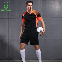 VANSYDICAL Men Soccer Sets Uniforms Running Training Sports Sportswear Fitness Exercise Gym Clothes Soccer Jerseys Shirt Shorts(China)