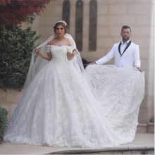 Ivory Flowers Lace Church Wedding Dresses Designer Cap Sleeve Backless Court Train Long Dress For Bridal Designer Wedding Gowns