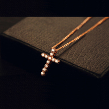 Zirconia crystal cross jewelry gold thin necklaces & pendants women costume accessories gargantilha com pingente hanger ketting(China)