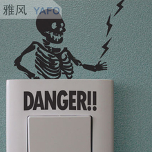 Korean wall stickers switch funny danger warning tide alternative electrical switch stickers