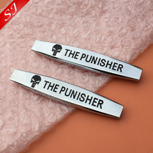 2pcs Hot sale THE PUNISHER Car Fender side Emblem tail Badge Decal rear bumper trunk Sticker Car style(China)