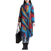 2018 Fall Autumn Winter dress Loose large Size Long Dress national Thicker Ethnic Warm Women Dress Vestidos Robe Femme Elbise(China)