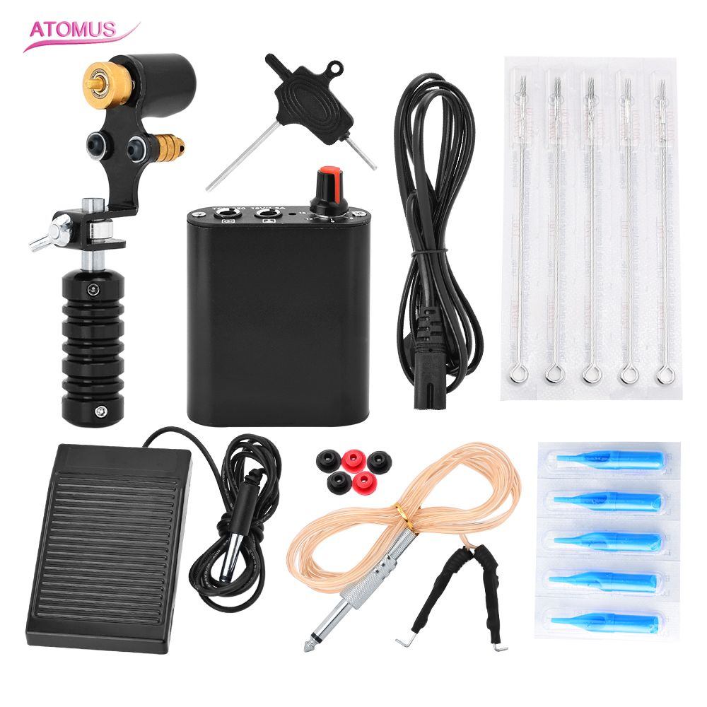 Complete Tattoo Machine Kit Set 1 Tattoo Machine Gun Power Switch Needle for Tattoo Beginner Kits<br>