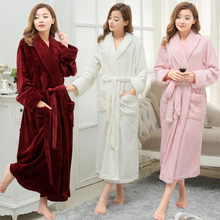 Women Men Winter Thick Warm Long Bathrobe Plus Size Coral Fleece Very Soft Nightgowns Bridesmaid Kimono Bath Robes Dressing Gown(China)