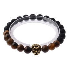 8mm Artificial Brown Black Stone Beads Gold/Silver Lion Head Alloy Unisex Healing Balance Energy Lucky Yoga Bracelets AB142