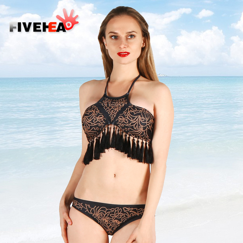 bikini women swimwear sexy sling low waist halter deep v Retro tassel back lace large size twopiece bathing swimsuit biquini<br>