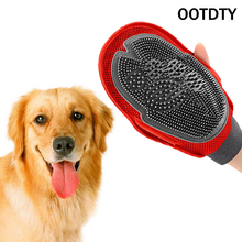 OOTDTY Dog Cat Hair Comb Cleaning Brush Comb Animal Massage Hair Removal Dog Bath Glove Red Plastic Grooming