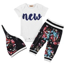 3PCS Baby designer clothes Short Sleeve Outfits Infant Jumpsuit Long Floral Pants Clothing Set