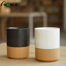 2Pcs Brief Coffee Mug Set Beer Milk Mug Ceramic Coffee Porcelain Tea Cup with Bamboo Base Cup Bottom Wooden Care Gifts canecas