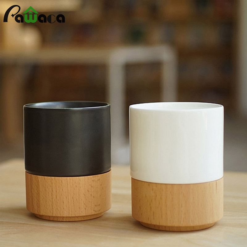 2Pcs Brief Coffee Mug Set Beer Milk Mug Ceramic Coffee Porcelain Tea Cup with Bamboo Base Cup Bottom Wooden Care Gifts canecas(China)