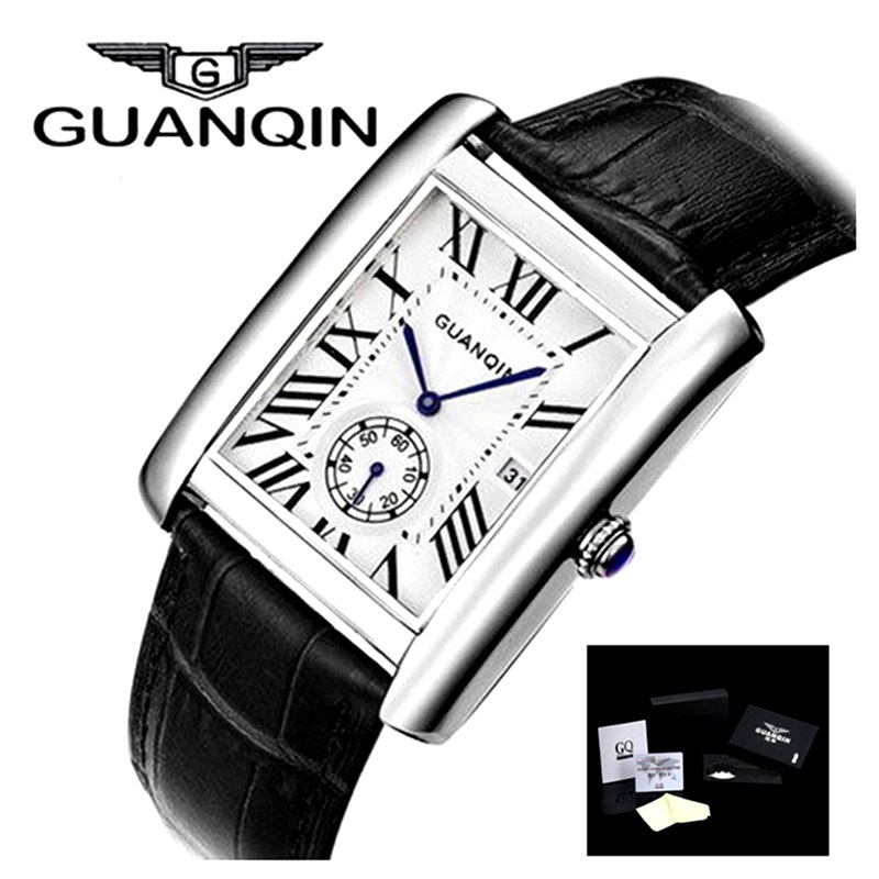 Men Watch GUANQIN Quartz Watch Square Ultra thin Waterproof Leather Wristwatch Business Luxury Brand Steel Business Mens Watch<br>