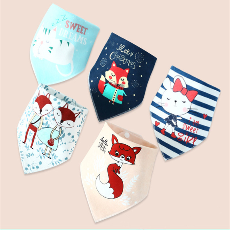 Cotton Boy Girl Bandana Bib Burp Cloth Print Animal Triangle Baby Bibs for Baby Scarf Meal Collar Burp Baby Accessories(China)
