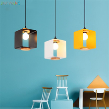 Nordic Modern Personality Square Macaron Pendant Lamps Iron Pendant Lights for Living Room Bedroom Bedside Indoor Lighting Decor(China)