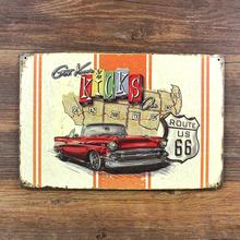 "RO-X-0612 free shipping "" route 66 road and car "" vintage metal tin signs painting home decor poster wall art craft  20X30cm"