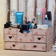 Table Desk Drawer Style Wooden Large Cosmetic Container Makeup Organiser Boxes