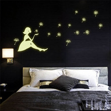 High Quality New Creative 3D Wall Stickers Dandelion Girl Luminous Cartoon Kids Removable Vinyl Wall Sticker Living Room Bedroom