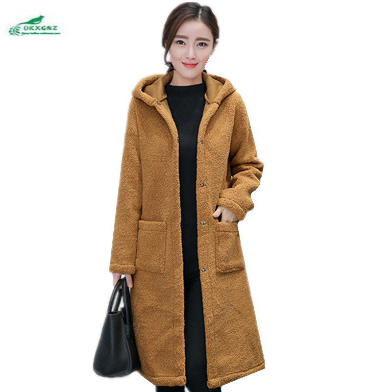 Winter Loose Large Size Women Medium Long Wool Coat Female Lamb Wool Coat Casual Thick Warm Winter Woolen Oversized Coat OKXGNZ(China (Mainland))