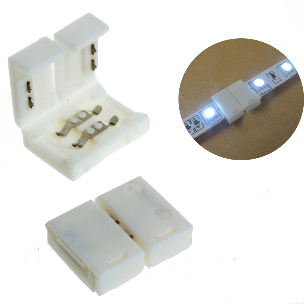 50PCS 8mm Solderless Clip-on Coupler Connector 2pin for 3528 LED Strip Light<br><br>Aliexpress