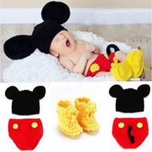 Newborn Photography Props Costume Knitted Cap Handmade Crochet Outfits Cartoon Infant Mickey mouse Hat Pants&Shoes Set