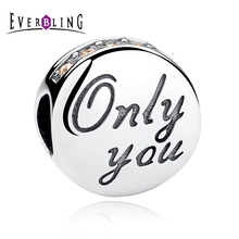 Everbling Jewelry Only You Love Pink CZ 100% 925 Sterling Silver Charm Beads Fit European Charms Bracelet Y(China)