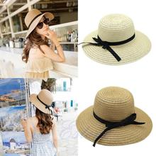 Free Ship New Fashion Summer Casual Women Ladies Wide Brim Beach Sun Hat Elegant Straw Floppy Bohemia Cap For Women Dating Cheap