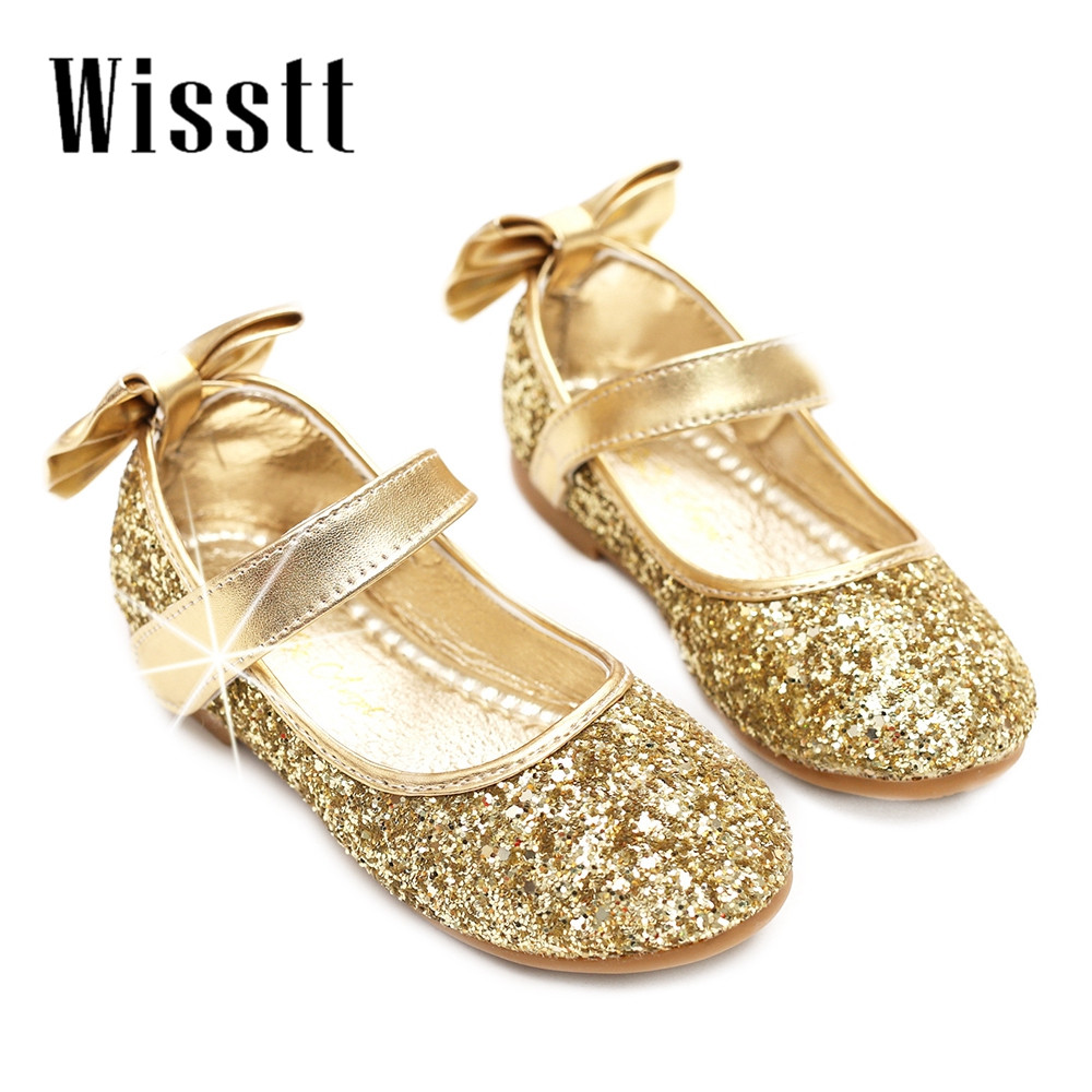 New girls shoes cute casual wild round flat bottom shoes exquisite breathable comfortable sequins bow bow princess shoes