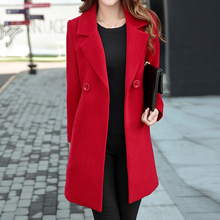 Plus Size M-4XL Women Winter Jackets and Coats Double Breasted Elegant Warm Women Woolen Coat Long Ladies Pure Color Jacket