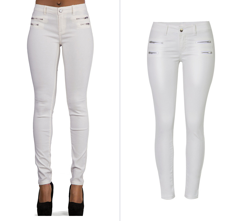 Europe and the United States women's low waist stretch pants feet double zipper PU white coating imitation leather pants large size (1)