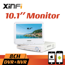 "Xinfi New 10.1"" LCD Monitor CCTV 8CH HVR 1080P Recorder HDMI Output AHD DVR 8 channel HVR DVR NVR Support Analog IP Camera(China)"