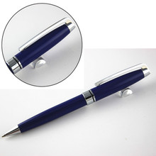 New Luxury  Blue silver clip Carved  Ballpoint Pen Stationery Executive writing Gift pen