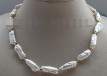 "free shipping 08151 17"" Natural White Baroque Reborn Keshi Pearl Necklace"
