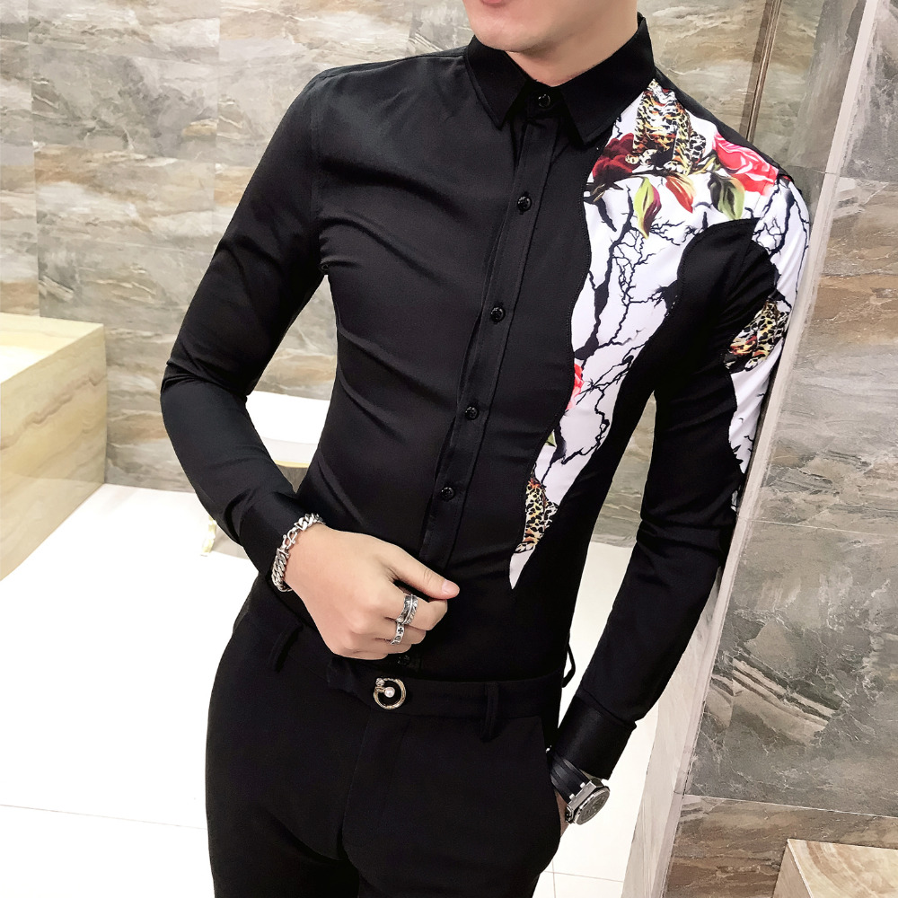 2019 New Shirt Men Single Shoulder Flower Printing Long Sleeve Slim Fit Shirts Male Black White Fashion Creative Men's Shirt