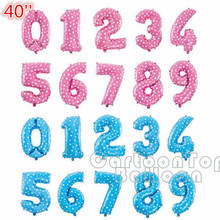 large size 40inch pink blue foil number balloons 0-9 digit globos for birthday party decoration balls wholesale from factory