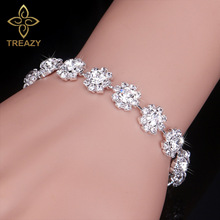 Buy TREAZY Silver Color Crystal Bracelets Women Floral Bridal Bracelets & Bangles Wedding Engagement Jewelry for $1.31 in AliExpress store