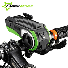 ROCKBROS Waterproof Bicycle Phone Holder Bluetooth Audio MP3 Player Speaker 4400mAh Power Bank +Bicycle Ring Bell +Bike Light