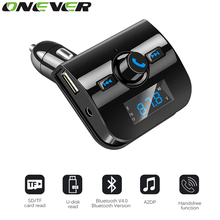 Onever FM Transmitter Bluetooth Handsfree Car Kit  FM Modulator Mp3 Music Player Car-styling Support U Disk TF Card with AUX