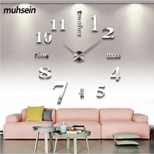 muhsein 2017 home decoration wall clock big mirror wall clock Modern design large size wall clocks diy wall sticker unique gift
