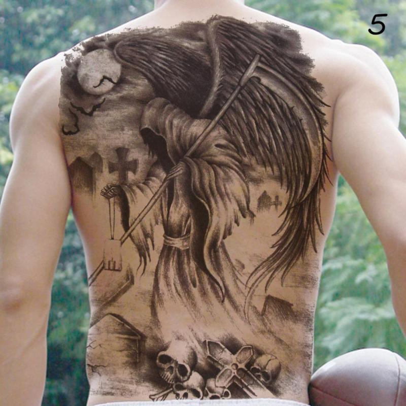 48*35cm Big size buddha ghost totem tattoo stickers men women waterproof full back body temporary tattoos RP2 6