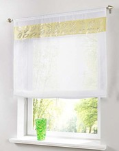 Newest Euro Style 100% Polyester Laser Cut Patch Sheer Roman Blind Curtain Price for 1piece