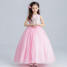 Flower girl long princess dress for weddings party summer for size 6 7 8 9 10 11 12 13 14 years child piano performance costumes